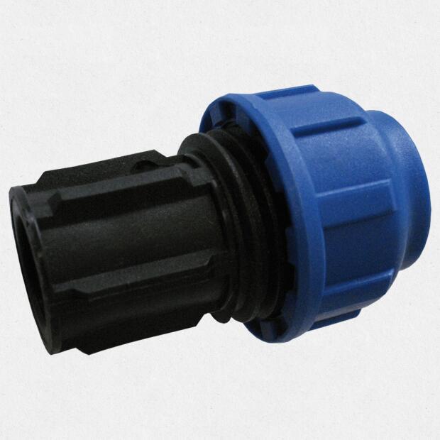 Endstopfen für 25 mm PE-Rohr verschraubt